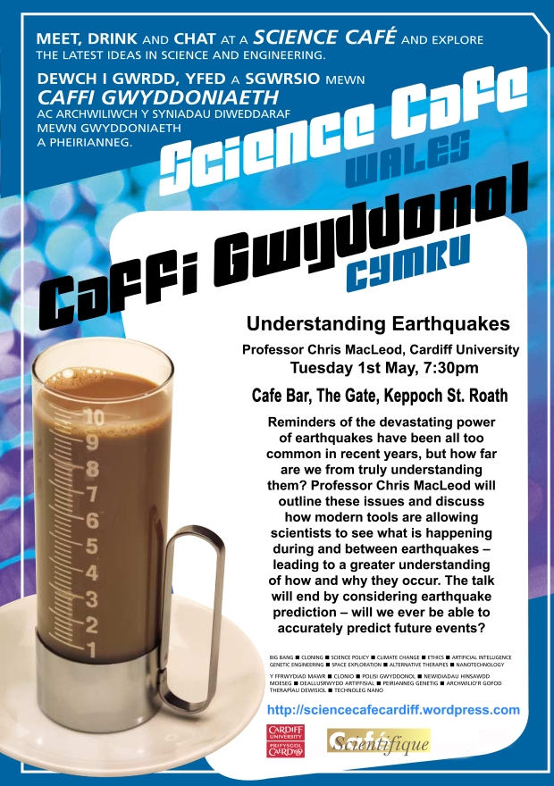 May Science Cafe flyer - Understanding Earthquakes